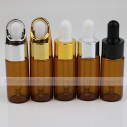 1~100 set 10ml Amber Eye Dropper Glass Bottle Essential Oil