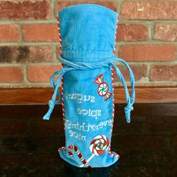 $12. NEW! Wine-Alcohol-Liquor-Bottle Blue-Fabric+Trim Gift B