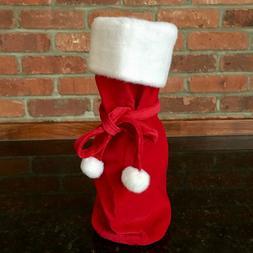 $12. NEW! Wine-Liquor-Bottle Red Velvet+Faux-Fur Trim Gift B