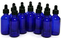 12 Pack of Cobalt Blue, 2 oz, Glass Bottles, with Glass Eye