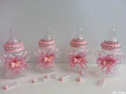 12 Pink Fillable Bottles with Plastic Baby Shower Favors Pri