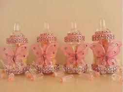 12 Pink Butterfly Bottles / Baby Shower Decoration /Favors P
