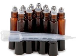12 Pk, Amber, 10 ml Glass Roll-on Bottles , Stainless Steel