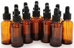1oz Amber Boston Glass Bottles with Child Resistant Droppers