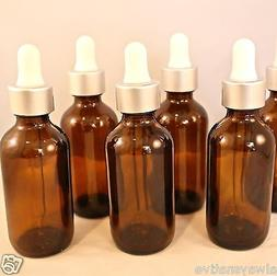 1oz Amber Glass Bottles with Glass Eye Dropper 4 Pack 30 ML