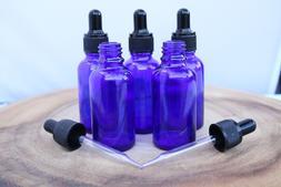 1oz Cobalt Blue Glass Bottles with Glass Eye Dropper Pack of