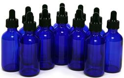 1oz Cobalt Blue Glass Bottles with Glass Eye Dropper Pack of