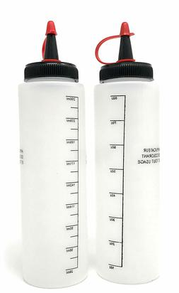 2 Hair Color Applicator Bottles, 8 oz, Peroxide, Roots, Sque
