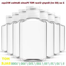 2 oz  Empty Clear PET Plastic Bottles W/ Flip Top Caps - 5 t