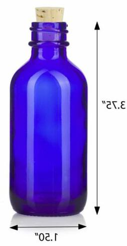 2 oz Cobalt Blue Glass Boston Round Bottle with Cork Stopper