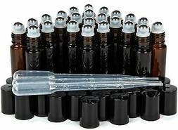 Vivaplex 24 Amber 10 ml Glass Roll on Bottles with Stainless