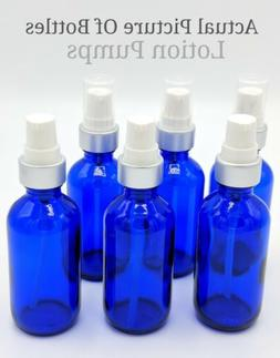 2oz Blue Glass Bottles for Essential Lotion Oils with LOTION