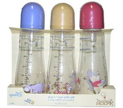 3 Sincerely Pooh The Slim One 8oz Bottles + Nipples 0m+ The