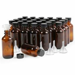 30 Pack 2oz Amber Glass Bottles with Lids and 6 Funnels for