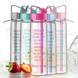 30oz Motivational Sport Water Bottle w/ Time Marking Flip St
