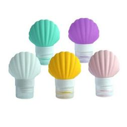 3X(5 Pack Sea-Shell Silicone Travel-Bottles For Shampoo Cond
