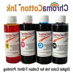 4 COLOR BOTTLES ChromaCotton INK REFILL INKJET PRINTER FOR T