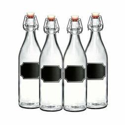 4-Pack Giara 33.75 oz Glass Bottles w/Chalkboard Label Swing