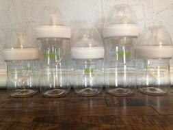 5 NUK Simply Natural Bottle Lot Plastic 5oz 9oz L56