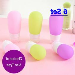 6 EMPTY Various Color & Size PE Silicone Squeeze TRAVEL BOTT