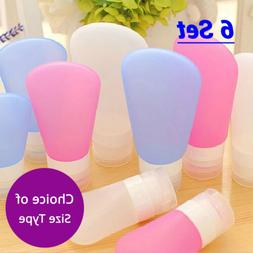 6 EMPTY Various Color & Size Soft Silicone Squeezable Dispen