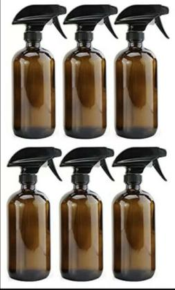 6 Pack Amber Glass Spray Bottles 16oz Brown With Trigger Spr