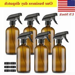 6 Pack Amber Glass Spray Bottles 16oz Brown With Trigger Spr