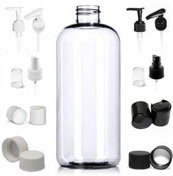 6 Pack Empty 10 oz. Clear PET Plastic Boston Round Bottles w