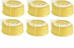 6 Medela Solid Lids - Yellow solid cap bottle lid for Medela