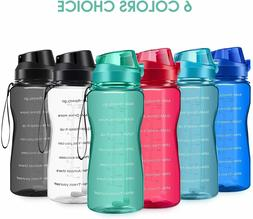 64oz Motivational Water Bottle with Straw and Time Marker Le