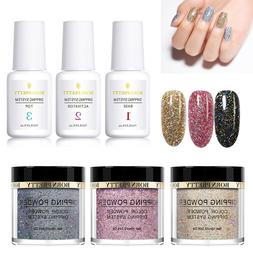 6Bottles BORN PRETTY Glitter Nail Dipping Powder With Dip Li