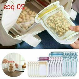 7/20Pcs Reusable Mason Jar Bottles Bags Fresh Food Storage S