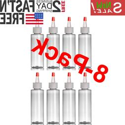 8-Pack of 4 Oz Plastic Small Squeeze Bottles and Caps - BPA-