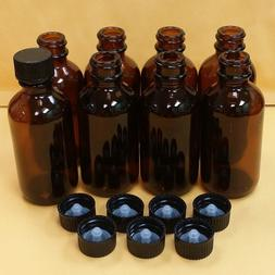 8 pcs AMBER 2 oz 60 ml Clear Boston Round Glass Bottles With