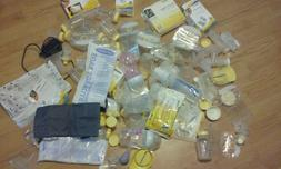 8 Pounds of Medela Breast Pump Supplies Power Cords Bottles