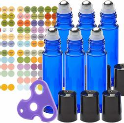 Cobalt Blue Glass Roll On Bottle Essential Oil Roller Ball B