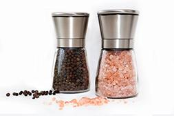 Salt and Pepper Grinder Set - Modern Stainless Steel Ring -
