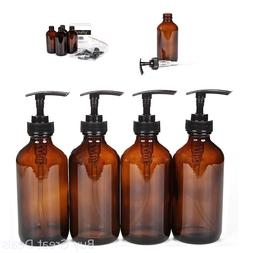 Amber Glass Bottles Black Lotion Shampoo Pumps Set Refillabl