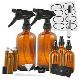 Duracare Amber Glass Spray Bottles 2  Trigger Sprayers w/Scr