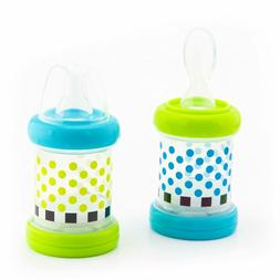 Sassy Baby Food Nurser Set of 2 Count Cereal Feeder 4oz Bottles Nipple Spoon