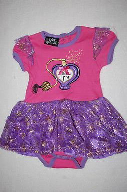 Baby Girls PINK & PURPLE SKIRTED S/S BODYSUIT Romper PERFUME