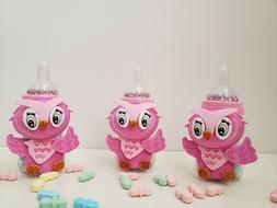 Baby Shower 12 Owl Favor Fillable Bottles Prizes Games Girl