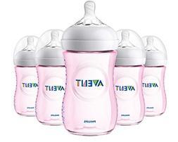 Philips Avent Natural Baby Bottle, Pink, 9oz, 5pk, SCF013/58