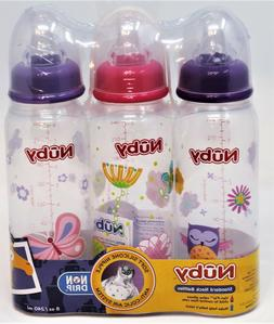 Nuby BPA FREE Bottles- 10oz - 3 Pk- Primary Colors - 3 ct.,