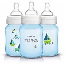 Philips AVENT Classic 9oz Bottle, Blue Deco Sailboat, 3-Pack