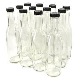 Clear Glass Woozy Bottles, 12 Oz - Case of 12, Black Screw C