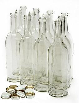 Home Brew Ohio 750 ml Clear Screw Cap Wine Bottles with 28 m