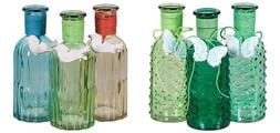 Colored Glass Bottle Set/3 w/ Butterfly or Bird Charm Home F