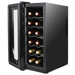 Compact Wine Cooler Refrigerator 12 Bottle Quiet Circulation