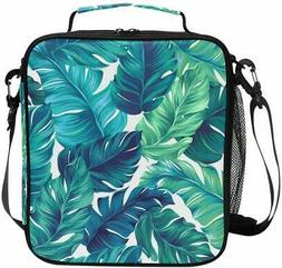 ALAZA Cooler Lunch Box Watercolor Turquoise Green Tropical L